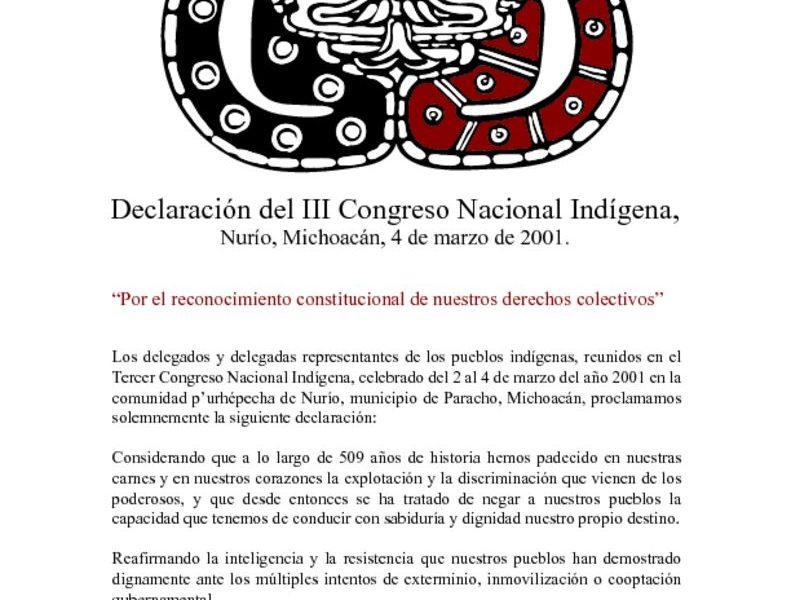 thumbnail of 3. Declaracion del III Congreso Nacional Indigena
