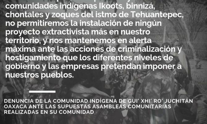 Resultado de imagen para Denuncia de la comunidad indígena de Gui' Xhi' Ro' Juchitán Oaxaca ante las supuestas asambleas comunitarias realizadas en su comunidad